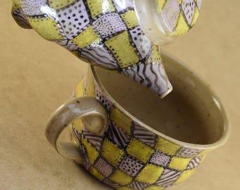 Pink and Yellow Stoneware tea set, Stoneware Tea Set, Patchwork teaset, squares teaset, teacup and teapot, handmade teapot set, teaset