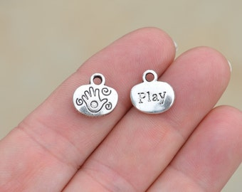 10 Silver Tone PLAY Charms SC3223
