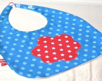baby bib blue with polka dots and red cloud with stars