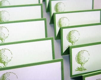 Golf Ball Place Cards Food Labels Set of Twelve, Golf Wedding Escort Cards, Retirement Party