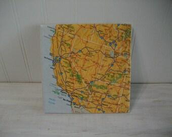 Tile Trivet / Western USA Map Coaster Trivet / Western United States Area Map 6 Inch Wine Coaster Trivet / Large Size Coaster or Trivet
