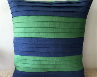 Pleated, linen, colorblock pillow