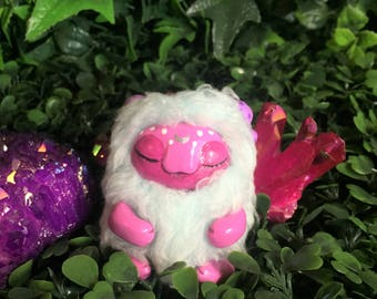 Little Cute Pink and Mint Green Fluffy Sleeping Forest Sprite