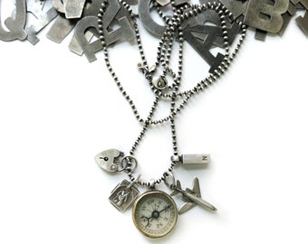 Travel Necklace Sterling Silver Charm St Christopher Heart Lock Airplane Antique Dr. Scott's Electric Compass Quackery Wanderlust NSEW