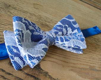 bow tie royal blue and white lace,royal blue bow tie,white lace,bow tie lace,royal blue satin