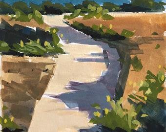 Original Gouache Painting - Carptineria Bluffs - by Sharon Schock, fits 5x7 frame