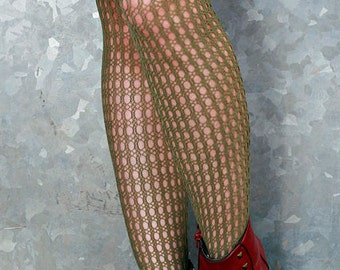 Vintage High Quality Khaki Green Holes and Striped Nylon Stockings Tights Size 12