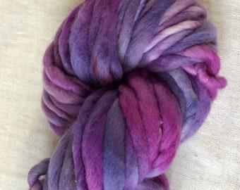 Raspberry Pink ,Purple and WhiteMini  Hank Merino Hand spun, Hand dyed Chunky Yarn 25 Metres