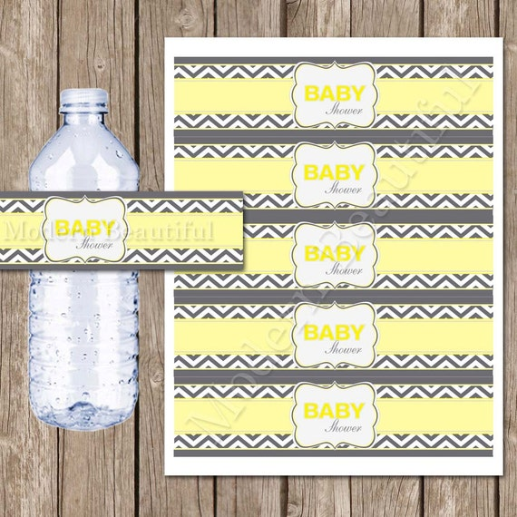 Yellow And Grey Chevron Baby Shower Water Bottle Labels
