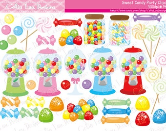 Candy Clipart, Sweet Shop , Candies, Sweet Shoppe , Candy Birthday Invitation, Lollipop, Gumball, Gums , Bubble Gum (CG218)