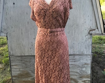 Vintage 1920's Blush Pink Lace Gatsby Era Dress