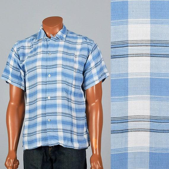 Collar 1950s Short Top Rayon Sleeve Blue Button Vintage Down Loop 50s Mens Rockabilly Medium Shirt p0qdAp