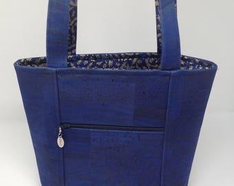 Navy Blue Cork Tote Bag