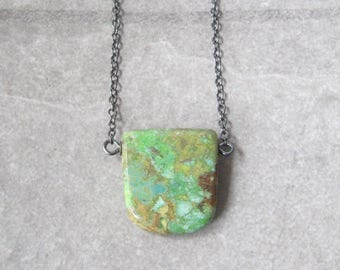 turquoise pendant, sterling and green turquoise necklace, oxidized jewelry, rustic turquoise necklace