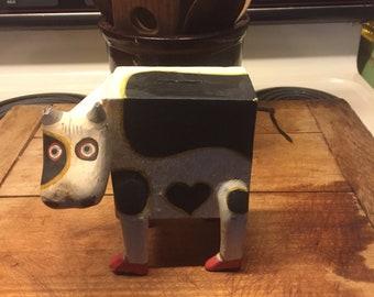 Holstein Cow Wooden Folk Art Bank