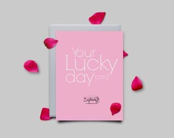 Greeting card, good luck, congratulations, pink, greeting card, Geburstagskarte, typography, design