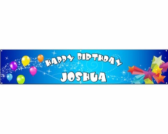 Birthday Blue Vinyl Banner Single Sided with Grommets