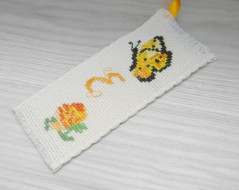 Cross stitch initial bookmark personalised, embroidery rose, butterfly,booklovers