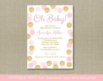 Glitter Baby Shower Invitation / Glitter Baby Shower / Glitter Dots / Blush Pink & Gold / Oh Baby / INSTANT DOWNLOAD Editable PDF A225
