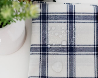 """Laminated Cotton Large Plaid - Navy - By the Yard (43 x 36"""") 37934 - 274"""