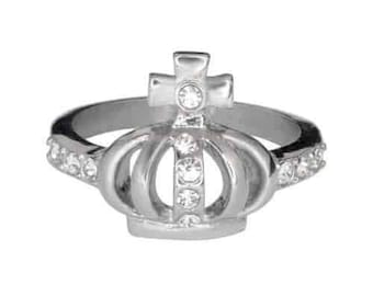 Ladies Imitation Diamond Crown With Cross Ring Stainless Steel Motorcycle Jewelry