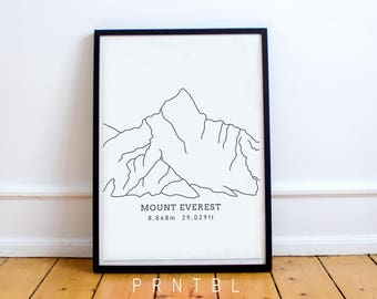 Mount Everest Design: Peak, Himalayan Mountain Range, Mountaineering Sagarmatha Mahalangur Nepal, Sacred Kalapattar Summit Base Camp Print
