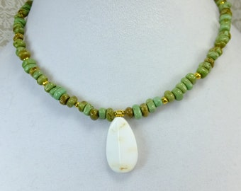 White African Opal Large Teardrop Opaque Stone with Green Stone Beads and Gold Plated Beads Choker Short Necklace