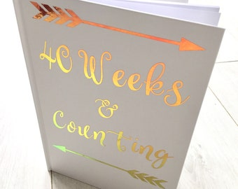 Pregnancy Journal,Pregnancy Memory book,Birthplan,holographic opal, 40 weeks & Counting,PERSONALISED with name ,due date or both.