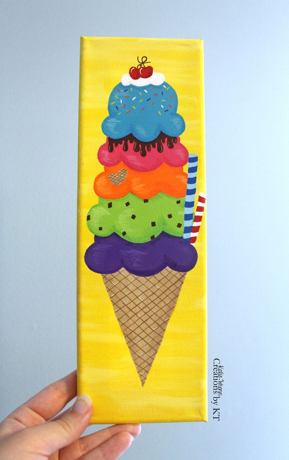 Ice Cream Canvas Acrylic Painting 4x12 READY TO SHIP Hand