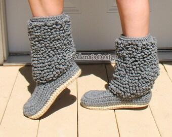 Crochet Pattern 140 Crochet Boot Pattern Cozy Women's Lamb Boots Boot Crochet Pattern - Crochet Slipper Pattern - Adult Winter Boots
