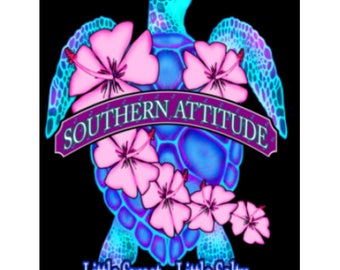 """Turtle with Flowers Car Decal 5"""" x 4"""""""