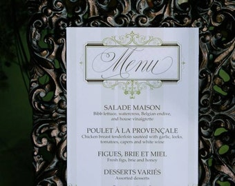 Vintage French Country Menu Cards - DEPOSIT - Antique Green Wedding Reception - Reception Menus, Custom Design Wedding Reception Decor Event