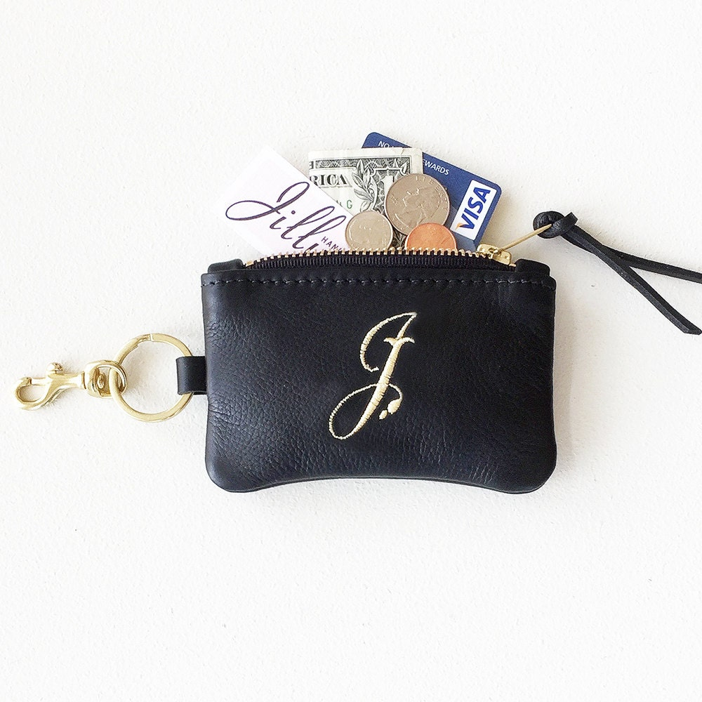 Personalized Keychain Wallet Black Leather Monogram Coin