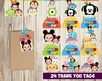 24 Tsum Tsum Thank you Tags instant download, Printable Tsum Tsum Thank you tags,  Tsum Tsum Party Gift Favor Label Tag
