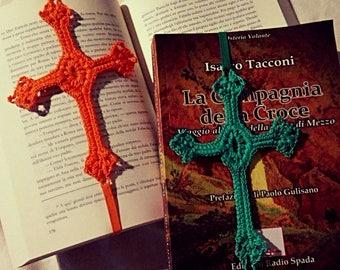 Crocheted cross bookmark with elastic