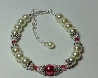 Ivory and Fuchsia Pearl Bridal  Bridesmaid Bracelet