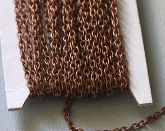 45 ft Copper Chain Antiqued copper round cable chain 2.6X3.9mm - unsoldered, bulk copper chain
