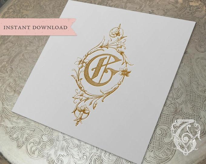 Wedding Crest Vintage Initial G Wreath Crest Digital Download
