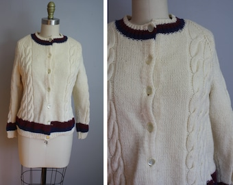 1960s Hand Knit Cardigan // Chunky Cableknit // Small