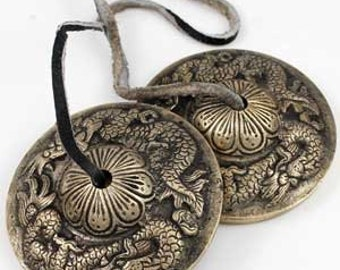 Tingsha. Tibetan Buddhist Small Cymbals. Music, Instrument Dragon. 8 Auspicious symbols  or Mantra