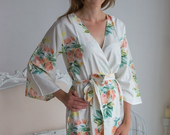 Premium White Angel Song Patterned Robe | Kimono Style getting ready robe, bridal shower gift, dressing gown, Floral Robe