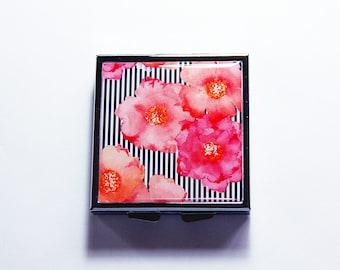 Pink Floral Pill Case, Square Pill box, Square Pill case, Pill Box, Gift for her, gift for her, pink flowers, Pink Orange Black White (7611)