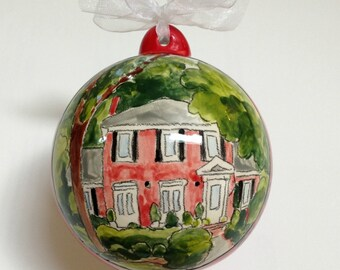 Personalized Christmas ornament housewarming gift new home house portrait hand painted from your photo by Cathie Carlson