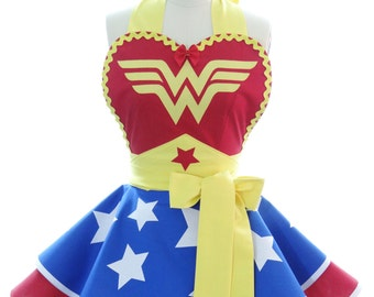 Aprons for Women - Gift for Her - Wonder Woman Retro Apron - Womens Costume Apron - Hostess Apron - Cute Apron - Cosplay Aprons