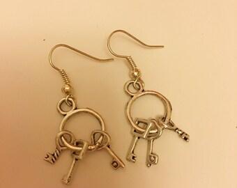 Cute Dangling Key Charm Earrings