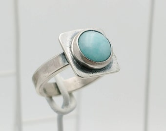 Handmade Woman's Sterling Silver Ring with Beautiful Amazonite. Size 8-3/4.