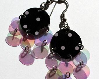 Purple & Black Polka dot Sequin Earrings Iridescent Dangles Plastic Sequin Jewelry