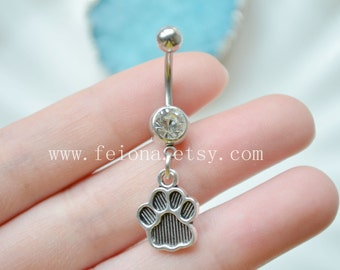 Silvery footprint Charm Belly Button Ring, Navel Piercing, friendship belly rings ,Dangle footprint  Belly Ring , Belly Button Piercing