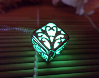Free, Glowing Necklace , Glowing Locket, Glowing Cube, Glow in the dark necklace , Cube Necklace , Cube Locket , Women Necklace