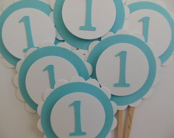 1st Birthday Cupcake Toppers - Aqua and White - Birthday Party Decorations - Child Party Decorations - Set of 6